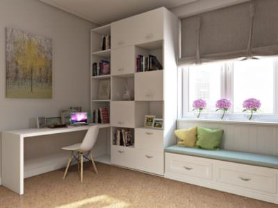 Шкаф-Распашной с Рабочим  местом и мягкой сидушкой