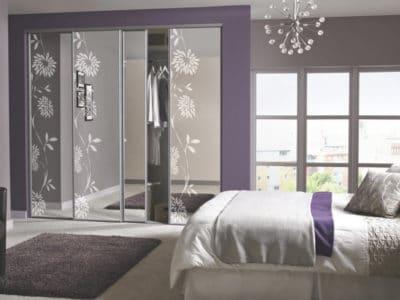 Шкаф-Купе в спальную комнату с Пескоструйным рисунком