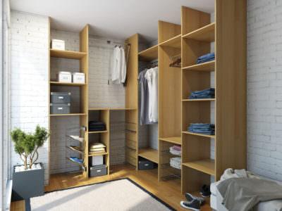 Шкаф в Гардеробную с Выкатными Сетками для одежды